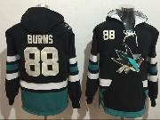 Mens San Jose Sharks #88 Brent Burns Black One Front Pocket Hoodie Jersey