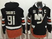 Mens Nhl New York Islanders #91 John Tavares White One Front Pocket Hoodie Jersey
