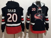 Mens Nhl Columbus Blue Jackets #20 Brandon Saad Dark Blue One Front Pocket Hoodie Jersey