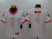 Women Nfl Houston Texans #4 Deshaun Watson White Pink Vapor Untouchable Limited Jersey