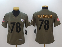 Women Nfl Pittsburgh Steelers #78 Alejandro Villanueva Green Olive Salute To Service Limited Jersey