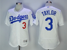 Mens Mlb Los Angeles Dodgers #3 Taylor White Flex Base Jersey
