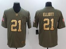 Mens Dallas Cowboys #21 Ezekiel Elliott Green Gold Number Olive Salute To Service Limited Jersey