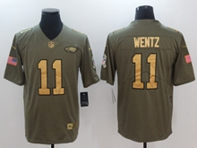 2018 Mens Philadelphia Eagles #11 Carson Wentz Green Gold Number Olive Salute To Service Limited Jersey