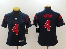 Women Nfl Houston Texans #4 Deshaun Watson Blue Vapor Untouchable Limited Jersey