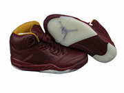 Mens Aj5 Basketball Shoes Red Wine Colour