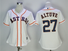 Women Mens Mlb Houston Astros #27 Jose Altuve White Cool Base Jersey