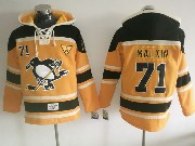 Mens Nhl Pittsburgh Penguins #71 Evgeni Malkin Yellow Black Hoodie Jersey C Patch