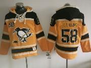 Mens Nhl Pittsburgh Penguins #58 Kris Letang Yellow Black Hoodie Jersey