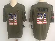 Mens Dallas Cowboys #21 Ezekiel Elliott Green Usa Flag Olive Salute To Service Limited Nike Jersey