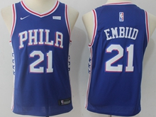 Youth Nba Philadelphia 76ers #21 Joel Embiid Blue Swingman Nike Jersey