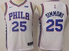 Youth Nba Philadelphia 76ers #25 Ben Simmons White Swingman Nike Jersey