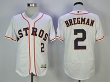 Mens Majestic Houston Astros #2 Bregman White Flex Base Jersey