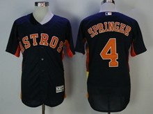 Mens Majestic Houston Astros #4 George Springer Dark Blue Flex Base Jersey