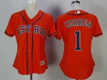 Women Mens Mlb Houston Astros #1 Carlos Correa Orange Jersey