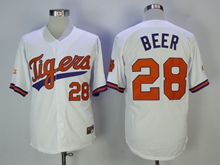 Ncaa Mens Mlb Detroit Tigers #28 Beer White Cool Base Jersey