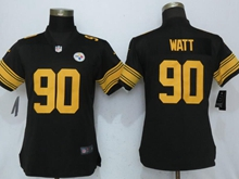 Women Nfl Pittsburgh Steelers #90 T. J. Watt Black Color Rush Elite Jersey