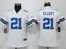 Women Youth Nfl Dallas Cowboys #21 Ezekiel Elliott White Vapor Untouchable Limited Player Jersey