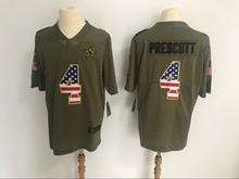 Mens Dallas Cowboys #4 Dak Prescott Green Usa Flag Olive Salute To Service Limited Nike Jersey