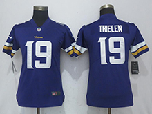 Womens Nfl Minnesota Vikings #19 Adam Thielen Purple Vapor Untouchable Limited Player Jersey