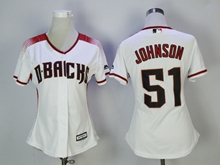Women Mlb Arizona Diamondbacks #51 Randy Johnson New White Jersey