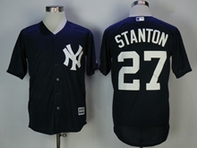 Mens Mlb New York Yankees #27 Giancarlo Stanton Blue Cool Base Jersey