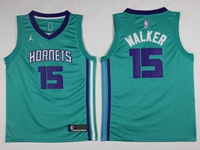 Mens 2017-18 Season Nba Charlotte Hornets #15 Kemba Walker Light Blue Jordan Jersey