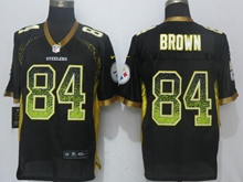 New Mens Pittsburgh Steelers #84 Antonio Brown Drift Fashion Black Nike Elite Jersey