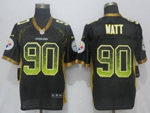 New Mens Pittsburgh Steelers #90 T. J. Watt Drift Fashion Black Nike Elite Jersey