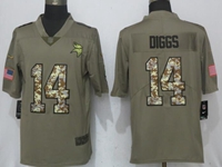 Mens Nfl Minnesota Vikings #14 Stefon Diggs Olive Green 2017 Olive Salute To Service Limited Camo Number Jersey