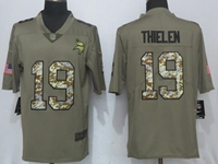 Mens Nfl Minnesota Vikings #19 Adam Thielen Olive Green 2017 Olive Salute To Service Limited Camo Number Jersey