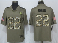 Mens Nfl Minnesota Vikings #22 Harrison Smith Olive Green 2017 Olive Salute To Service Limited Camo Number Jersey