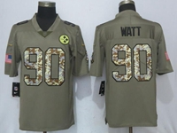 Mens Nfl Pittsburgh Steelers #90 T. J. Watt Olive Green 2017 Olive Salute To Service Limited Camo Number Jersey