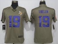 Women Nfl Minnesota Vikings #19 Adam Thielen Green Olive Salute To Service Elite Nike Jersey