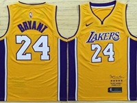 Mens Nba Los Angeles Lakers #24 Kobe Bryant Yellow Retirement Commemorative Nike Jersey