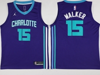 Mens 2017-18 Season Nba Charlotte Hornets #15 Kemba Walker Purple Jordan Jersey