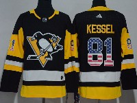 Mens Nhl Pittsburgh Penguins #81 Phil Kessel Black (usa Flag Fashion) Adidas Jersey