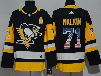 Mens Nhl Pittsburgh Penguins #71 Evgeni Malkin Black (usa Flag Fashion) Adidas Jersey