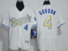 Mens Mlb Kansas City Royals #4 Alex Gordon White (royals) Gold Program Elite Jersey