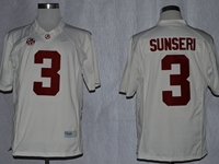 Mens Ncaa Nfl Alabama Crimson #3 Vinnie Sunseri White Sec Jersey
