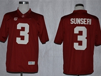 Mens Ncaa Nfl Alabama Crimson #3 Vinnie Sunseri Red Sec Jersey