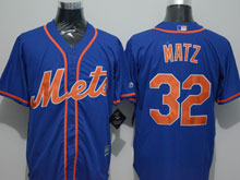 Mens Majestic New York Mets #32 Steven Matz Blue Cool Base Jersey
