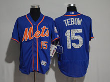 Mens Majestic New York Mets #15 Tim Tebow 2017 Blue Training Flex Base Jersey