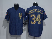Mens Mlb New York Mets #34 Noah Syndergaard Navy Cool Base Jersey