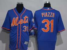 Mens Majestic New York Mets #31 Mike Piazza Blue (orange) Flex Base Jersey