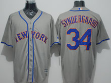 Mens Majestic New York Mets #34 Noah Syndergaard Grey Jersey