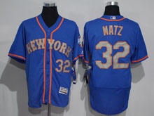 Mens Majestic New York Mets #32 Steven Matz Blue Felx Base Jersey