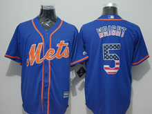 Mens Mlb New York Mets #5 David Wright Blue Usa Flag Jersey