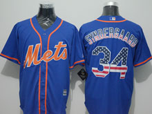 Mens Mlb New York Mets #34 Noah Syndergaard Blue Usa Flag Jersey