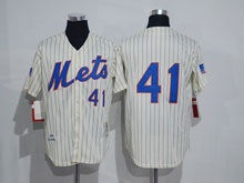 Mens Mlb New York Mets #41 Tom Seaver Cream (no Name) Throwbacks  Jersey